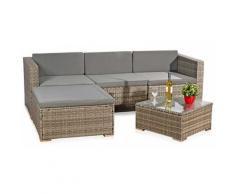 Sitzgruppe Rattan Grau Lounge Gartengarnitur Gartenset Sitzmöbel Essgruppe ?? - Melko