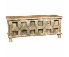 Truhe, Koffer, Bank, Behälter, Etui, antikes Original aus Teakholz mit eingelegtem Finish