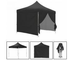 Schwarzes Faltpavillon + Seiten Pack 3x3m ECO 25mm Stahlrohr Plane 220g / m² 100% wasserdicht