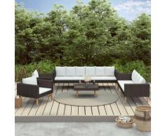 5-tlg. Garten-Lounge-Set mit Auflagen Poly Rattan Schwarz - Youthup