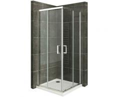 Duschkabine mit Schiebetüren Eckdusche mit Rollensystem aus ESG Glas 190cm Hoch 100x100