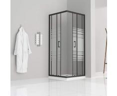 Duschkabine mit Schiebetüren Eckdusche mit Rollensystem aus teilsatiniertem ESG Glas 190cm Hoch mit