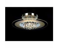 Delmar runde Deckenleuchte 4 Glühbirnen aus poliertem Chrom / Glas / Kristall