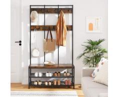 VASAGLE große Garderobenständer mit Sitzbank im Industrie Design, Garderobe mit 12 Kleiderhaken und