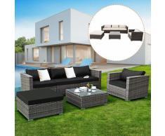 COSTWAY Rattanmoebel, Gartenmoebel Poly Rattan, Lounge Set Gartenlounge Gartengarnitur Gartenset