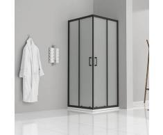 Duschkabine mit Schiebetüren Eckdusche mit Rollensystem aus satiniertem ESG Glas 185cm Hoch mit