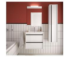 Badezimmer Badmöbel 60 cm Nevada aus glänzendes Weiß Holz mit Porzellan Waschtisch | 60 cm - mit