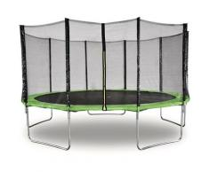 Trampolin Yoopi Ø 4.60 m - Grün - mit Netz + Sicherheitsleiter + Schutzhülle + Befestigungsset