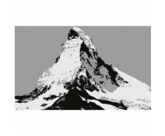 Papier Fototapete Matterhorn Illustration schwarz und weiß 368x254cm