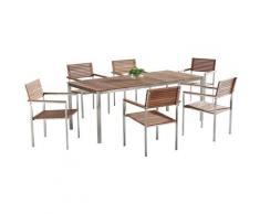 Gartenmöbel Set Holz Edelstahl 6-Sitzer VIAREGGIO