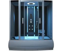 Home Deluxe - Badewanne mit Dusche Diamond BIG - schwarz | Duschtempel, Whirlpool, Dampfdusche
