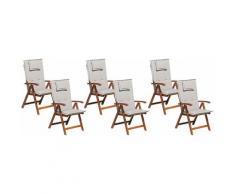 Beliani - Gartenstuhl mit Auflagen 12-teilig Grau-Beige Polsterbezug Dunkelbraun Akazienholz