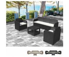 Loungeset Gartenmöbelset Outdoor Rattan Tisch Sofa Sessel 5 Pläzte Grand Soleil POSITANO | Schwarz