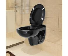 Wand-WC mit Absenkautomatik-Sitz Keramik Schwarz
