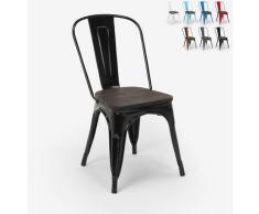 Tolix Industriestahl Holzstühle für Küche und Bar Steel Wood | Schwarz
