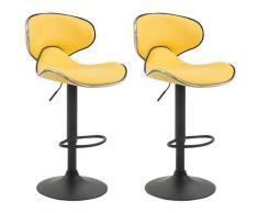 2er Set Barhocker Las Vegas V2 Kunstleder-gelb-Schwarz