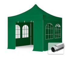 Faltzelt PROFESSIONAL 3x3 m mit Fenstern Faltpavillon ALU Pavillon Partyzelt in grün PROFIZELT24