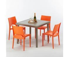 Polyrattan Tisch quadratisch mit 4 bunten Stühlen 90x90 Beige ELEGANCE   Paris Orange