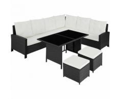Rattan Lounge mit Stahlgestell Barletta - Loungemöbel, Gartenmöbel, Gartengarnitur - schwarz