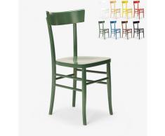 Klassischer Rustikaler Holzstuhl für Esszimmer Küchenbar Restaurant Milano | Dunkel Grün
