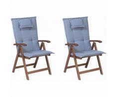 Beliani - Gartenstuhl mit Auflagen 4-teilig Blau Polsterbezug Dunkelbraun Akazienholz verstellbar