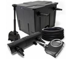 Filter Set aus Bio Teichfilter 12000l, UVC Teichklärer mit 24W, 80W Pumpe und Springbrunnenpumpe