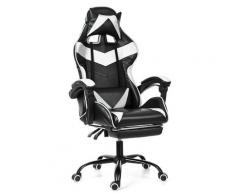 Bürostuhl Gaming Gamer Sessel ohne Fußstütze White Hasaki