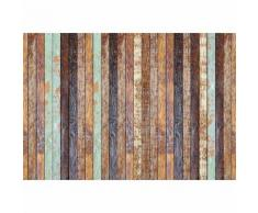 Papier Fototapete Vintage Holzwand Farbig 368x254cm