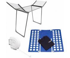 3 teiliges Haushalts Set, Wäscheständer klappbar, 13 m Trockenlänge, ausziehbare Wäscheleine,