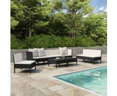 9-tlg. Garten-Lounge-Set mit Auflagen Poly Rattan Schwarz - Youthup