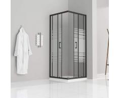 Duschkabine mit Schiebetüren Eckdusche mit Rollensystem aus teilsatiniertem ESG Glas 185cm Hoch mit