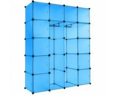 Steckregal 12 Boxen mit Türen inkl. Kleiderstangen - Regalsystem, Cube Regal, Haushaltsregal - blau