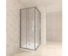 Duschkabine mit Schiebetüren Eckdusche mit Rollensystem aus ESG Glas 190cm Hoch 70x80