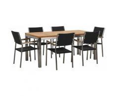Beliani - Modernes Gartenmöbel Set Tisch 180 cm Teakholz 6 Rattanstühle in Schwarz Grosseto