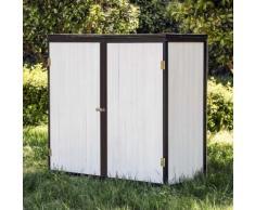 Gartenschrank Holz Weiß Anthrazit 2 Türen 136x58x127cm Werkzeugschrank Garten