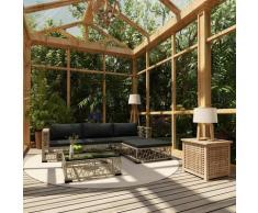 5-tlg. Garten-Lounge-Set mit Auflagen Poly Rattan Grau - Youthup