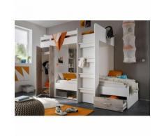 Etagenbett Nils inklusive Kleiderschrank + Schubkasten + Regale weiß - grau B-Ware