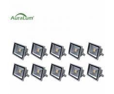 10×30W LED Außenstrahler Fluter Flutlichtstrahler, 3000K Warmweiß 2700 Lumen 230V IP65 Wasserdicht,