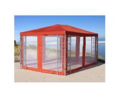 Rank Pavillon Set 3x4m Metall Garten Partyzelt Terra / Rotorange RAL 2001 mit 4 Seitenteilen