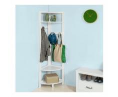 SoBuy Kleiderständer, Garderobenständer mit 4 Ablagen und 4 Haken, FRG250-W