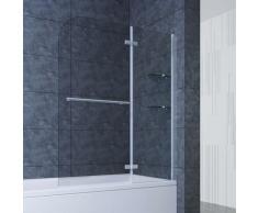 SONNI 100cm Badewannenaufsatz Faltwand 2-teilig Duschwand ESG Glas Duschabtrennung