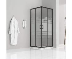 Duschkabine mit Schiebetüren Eckdusche mit Rollensystem aus teilsatiniertem ESG Glas 180cm Hoch mit