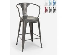 Hocker mit Metallrückenlehne Industriedesign für Bar und Küche im Tolix-Stil Steel Back | Dunkel