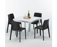 Polyrattan Tisch quadratisch mit 4 bunten Stühlen 90x90 Weiß WHITE PASSION   Rome Anthrazit Schwarz