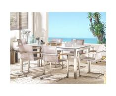 Gartentisch Weiß Edelstahl HPL-Platte Marmoroptik 180 x 90 cm für 6 Personen rechteckig