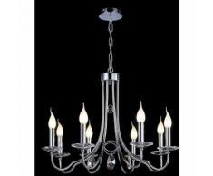 09-diyas - Danya Pendelleuchte rund 8 Glühbirnen poliert Chrom / Kristall
