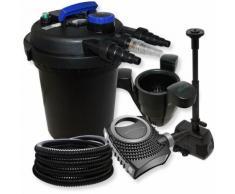 Druckfilter Set aus 10000l Filter, UVC Klärer mit 11W, 70W Pumpe, Springbrunnenpumpe und Skimmer