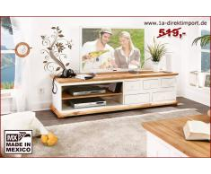 1a Direktimport Mexico Lowboard TV-Kommode, Pinie weiß / honig, Landhaus Möbel, shabby