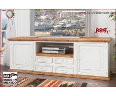 1a Direktimport XXL Lowboard TV-Tisch MEXICO Landhaus, weiß natur, Massivholz Möbel