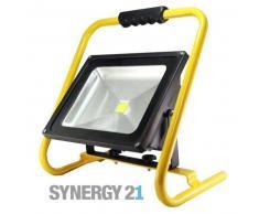 SYNERGY21 LED Fluter AKKU 50W kaltweiß 4000lm IP65 Tragegestell gelb EEK:A+